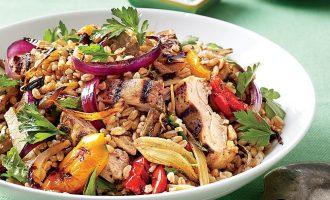 Рецепт овощного салата с курицей