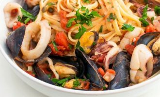 Рецепт сливочной пасты с морепродуктами